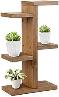 JJJJD Mini Small Wooden Ladder Shelf, 3 Tier Solid Wood Flower Stand Desktop Floral Stand Office Slippery Flower Stand Min...