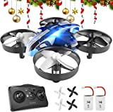 ATOYX Mini Drone for Kids and Beginners,Portable Remote Control RC Quadcopter Drone Toy, Best Drone for Boys and Girls with Altitude Hold, 3D Flips, Headless Mode,LED Light&Extra Batteries AT-66(Blue)
