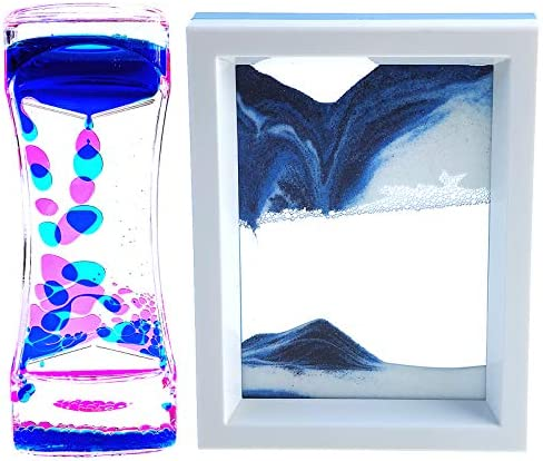 FKYTION Liquid Motion Bubbler Timer and Moving Sand Art Picture 2 Pack Colorful Hourglass Liquid product image