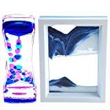 FKYTION Liquid Motion Bubbler Timer and Moving Sand Art Picture 2 Pack Colorful Hourglass Liquid Bubbler Art Toys Activity Calm Relaxing Desk Toys Voted Best Gift!