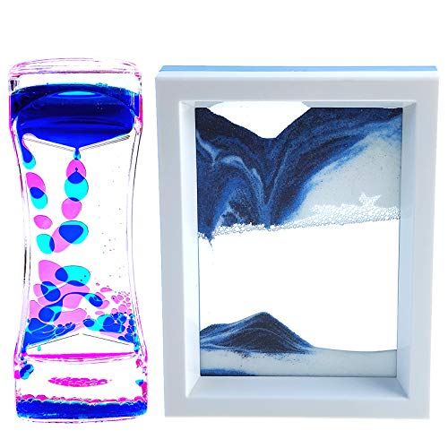 FKYTION Liquid Motion Bubbler Timer and Moving Sand Art Picture 2 Pack Colorful Hourglass Liquid...