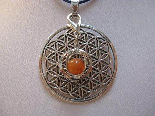 Natural mente – Pendentif Fleur de vie, la pierre + 1 Chakra, pendentif pour collier, amulette, fleur de vie, avec bandeau plastique, pierres précieuses, n ° 114