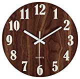 "Jomparis 12"" Night Light Function Wooden Round Wall Clock Vintage Rustic Country Tuscan Style for Kitchen Bedroom Office Home Silent & Non-Ticking Large Numbers Battery Operated Indoor Clocks"