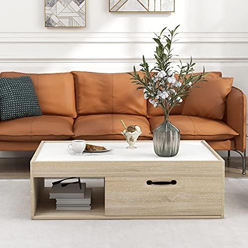 Gona Mesa de centro con estante y 1 cajón, mesa auxiliar moderna de madera, mesa de almacenamiento para el hogar y la oficina en el salón (blanco)