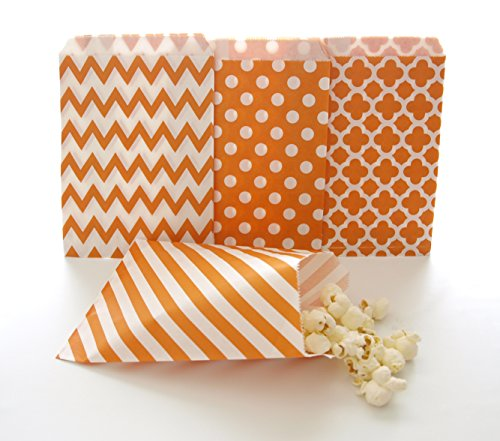 Orange Party Goody Bags (100 Pack) - Fall Birthday or Autumn Wedding Favors - Halloween Candy Buffet Paper Bags