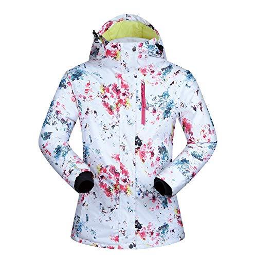 Impermeable Chaqueta De Esquí Chaqueta De Snowboard Colorido De Las Mujeres Cómodas De Invierno Forrado Mountain Rain Jacket Traje de Esquí a Prueba de Viento (Color : White, Size : L)