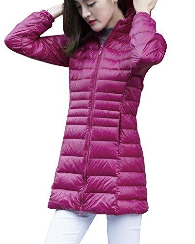 Damen Bepackbare Steppjacke Mit Kaputze Leichte Daunenjacke Für Winter Rose 2XL