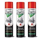 3 x Spray Antiacaro Disinfettante Per Materassi Tessuti Divano Cuscini ACAROMAYER 400 Insetticida...