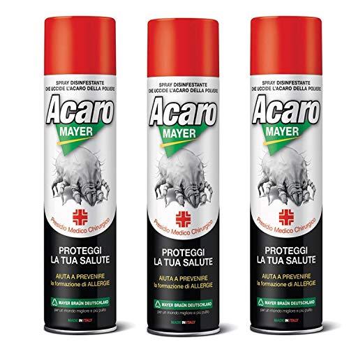 3 x Spray Antiacaro Disinfettante Per Materassi Tessuti Divano Cuscini ACAROMAYER 400 Insetticida Acaricida Della Polvere Anallergico Atossico