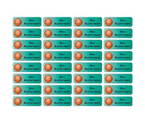 Sunnywall® Namensaufkleber Namen Sticker Aufkleber Sticker 4,8x1,6cm   60 Stück für Kinder Schule und Kindergarten 38 Hintergründe zur Auswahl (04 Basketball)