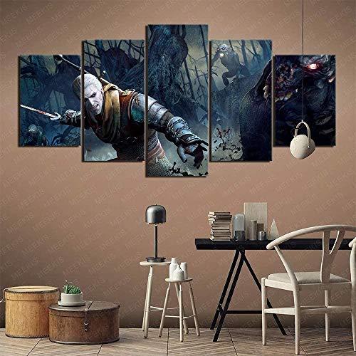 5 piezas cuadro en lienzo Cuadro compuesto por 5 lienzos impresos en HD, utilizados para decoración del hogar y carteles Robot guardián del cazador salvaje de The Witcher 3 (150x80cm sin marco)
