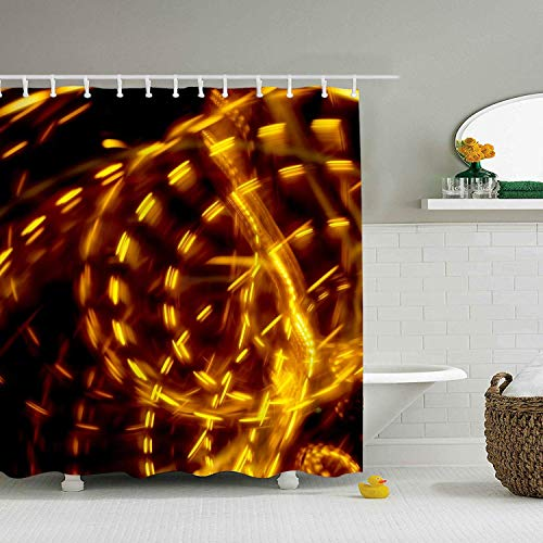 N\A Badezimmer Duschvorhang Abstract Toss Kinetic Artistic Gold Gelb Wirbel Licht Licht Spuren Bad Gardinen Zoll