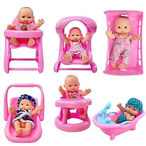 Liberty Imports Cute Lil Baby Doll Collection - Set of 6 Mini Infant All Vinyl Dolls for Girls with Cradle, High Chair, Walker, Swing, Bathtub and Infant Seat (5 inches Tall)