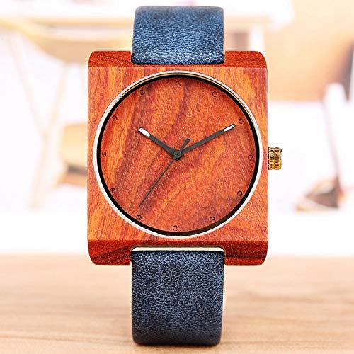 KUELXV Reloj de Pulsera de Madera Reloj de Madera único para Hombres Reloj de Cuarzo de Cuero con Esfera Redonda Cuadrada Creativa Reloj para Hombre Relojes de Pulsera de Madera ultraligeros Retro
