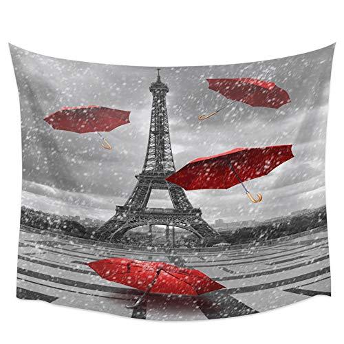 AdoDecor Torre de París Paraguas Rojo Cuadrado Gotas de Lluvia Tapiz de Pared Toalla de Playa Picnic Estera de Yoga Decoración del hogar 150x110cm
