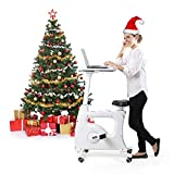 FLEXISPOT Home Workstation Desk Bike Stand up Folding Exercise Desk Cycle Height Adjustable Office Desk Stationary Exercise Bike - Deskcise Pro (With Desktop, White)