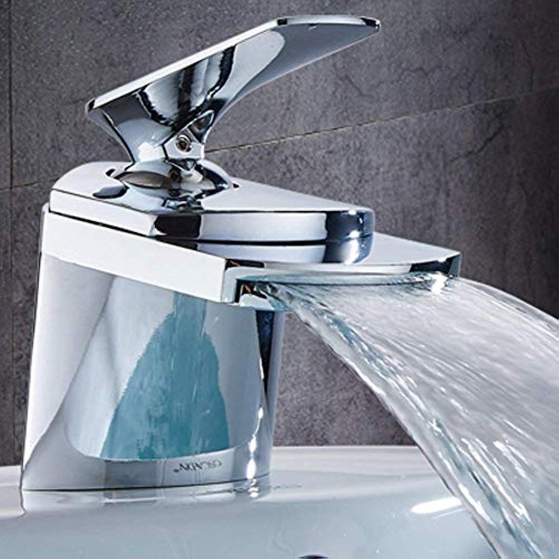 Marcu Home Wasserhahn Mono-Waschtischarmatur Wasserfall Wasserhhne Waschbecken Waschbecken Einhebelmischer, Chrome Finshed