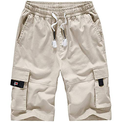 czzstance Men's Cargo Shorts Elastic Waist Relaxed Fit Multi-Pockets Cotton Casual Outdoor Lightweight Work Shorts Off-White