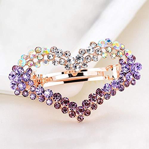 Bijoux grand papillon en épingle à cheveux épingle à cheveux doux incrusté strass clip supérieur printemps clip femelle, en forme de coeur violet
