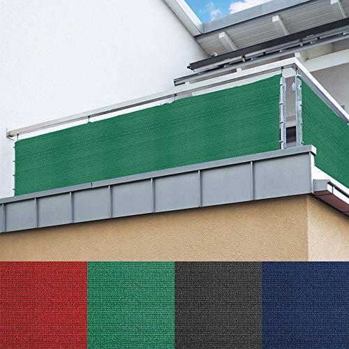 DILUMA Balkon Sichtschutz 120x500 cm Grün - Balkonumspannung - langlebiges & UV beständiges HDPE Gewebe - wetterfeste Balkonbespannung