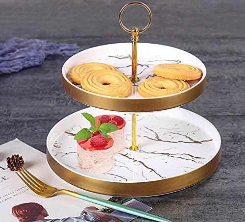 Zellerfeld Trendmax Etagere 2-stufig Rund Marmor Design Porzellan für Dessert Muffin Cake Stand Servierstand Süßigkeiten Obst