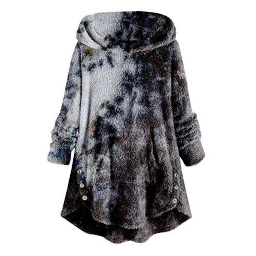 YSLMNOR Tie Dyed Fleece Blouse Womens Asymmetrical Button Hem Hoodie with Pocket Plus Size Tops Black
