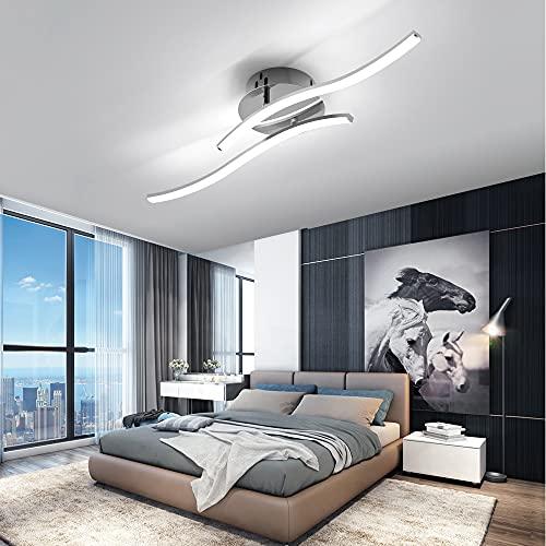 OTREN Lámpara Led Techo Moderno, Plafon Led Techo con Diseño Curvo, Luz LED con 2 Lámpara Placas para Sala de Estar Dormitorios Pasillo Oficina Cocina, 6000K