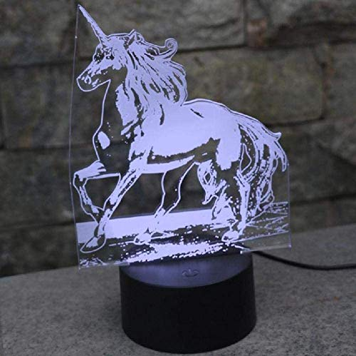 Lámpara de mesa de unicornio de 7 colores cambiantes de la lámpara de escritorio 3D de la novedad led luces de noche luz led
