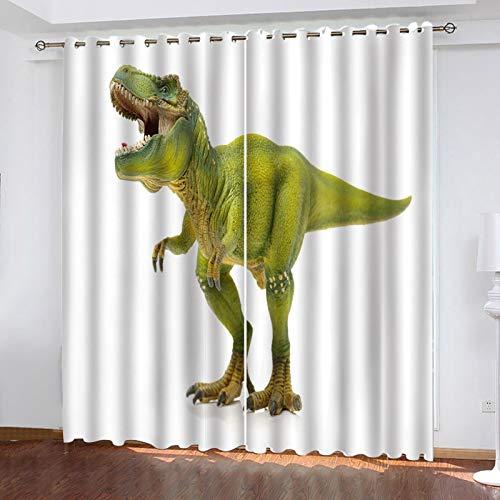 ZXPAG 3D Cortina Opaca Con Ojales Cortinas Térmicas Aislantes Decoración Ventanas -Impresión Digital Cocina De Dormitorio De La Sala De Estar - 234X183Cm - Dinosaurio Animal Verde