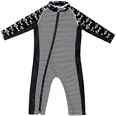 Stonz Premium Rash Guard Rashguard Sun Suit for Active Baby Boy Girl Long Sleeve UPF 50+ Swim Suit Top Sun Protection for Beach Pool Play, Black Shark 18-24 Months