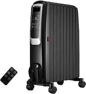 Radiador de Enfriador de Aceite doméstico 2.2KW - Calentador eléctrico portátil - 3 configuraciones de Potencia, Temperatura Ajustable, Corte de Seguridad térmica y Temporizador de 12 Horas - Negro