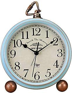 Bordsklockor, 13,2 cm blå tickar inte retro gammaldags stil väckarklocka med kvartsdriftsbatteri, HD-glaslins för kök inom...