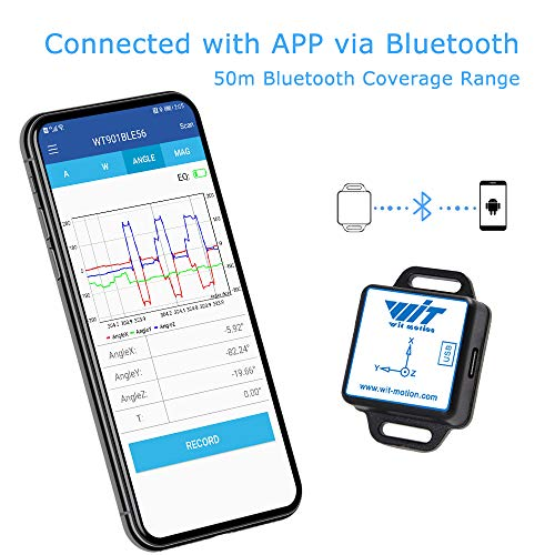[Bluetooth 5.0 Accelerometer+Inclinometer] WT901BLECL MPU9250 High-Precision 9-axis Gyroscope+Angle(XY 0.05° Accuracy)+Magnetometer with Kalman Filter, Low-Power 3-axis AHRS IMU Sensor for Arduino