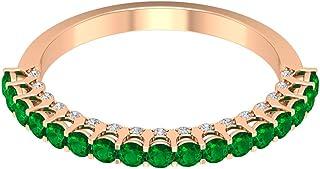 Anello di fidanzamento in oro vintage con smeraldo da 3/4 ct, anello di fidanzamento con gemma unica, diamante da 0,11 ct,...