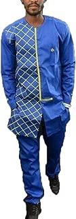 Beautyfine Luxury African Dashiki Shirt Suit Blouse,Autumn Winter Men's Long Sleevet Print Shirt Top Pants