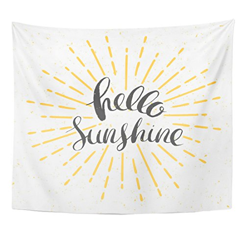 Emvency Tapestry Yellow Burst Hello Sunshine Vintage Sunburst and Lettering Sun Home Decor Wall Hanging for Living Room Bedroom Dorm 50x60 inches