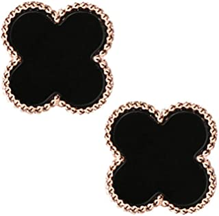 18K Gold Plated Vintage Beads Sided Black Onyx Agate Four Clover Charm Stud Earrings