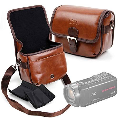 DURAGADGET Bolsa Profesional marrón con Compartimentos para Cámara JVC GZ-R435BEK, Medion Life P47011 Tamaño Mediano.