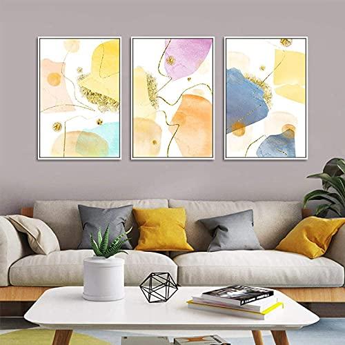 SXXRZA Impresiones para Paredes 3 Piezas 30x50cm Sin Marco Arte de Pared geométrico nórdico Abstracto Mármol Moderno Líneas geométricas Doradas Carteles e Impresiones Decoración para el hogar