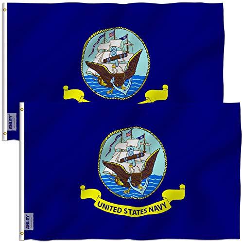 ANLEY Pacote de 2 Fly Breeze 3x5 Foot Flag da Marinha dos EUA - Cores vivas e resistentes ao desbotamento UV - Cabeçalho de lona e costura dupla - Bandeiras militares navais de poliéster