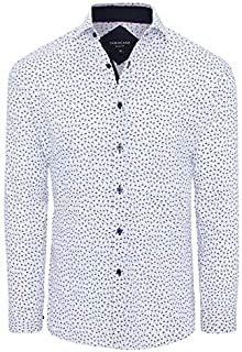 Tarocash Men's Mini Flamingo Slim Print Shirt Slim Fit Long Sleeve Sizes XS-5XL for Going Out Smart Occasionwear