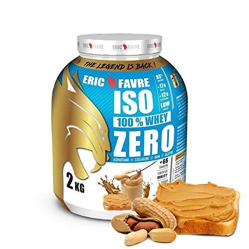 ISO WHEY ZERO 100% Pure Protein - Pure Whey Protein Isolate es sabroso y sirve para ganar masa muscular - Rápidamente asimilable - 2 kg - Laboratoire Français Eric Favre (mantequilla de cacahuete)