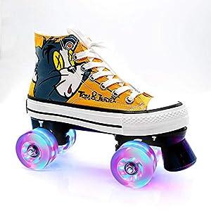 BTYKJ Lienzo Graffiti Principiantes Casuales Doble Fila Cuatro Patines 43 Zapatos Amarillos + Rueda Flash