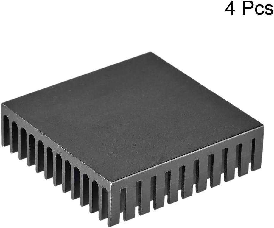 sourcing map Cross Shaped Notch Heatsink for MOS GPU IC Chip Black 19 x 14 x 7 mm 4pcs
