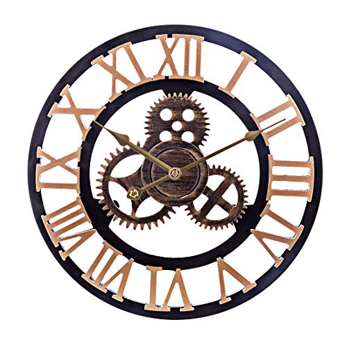 LoKauf 40CM Vintage Wanduhr Industrial Zahnrad Wanduhr ohne Tickgeräusche Uhr Wall Clock
