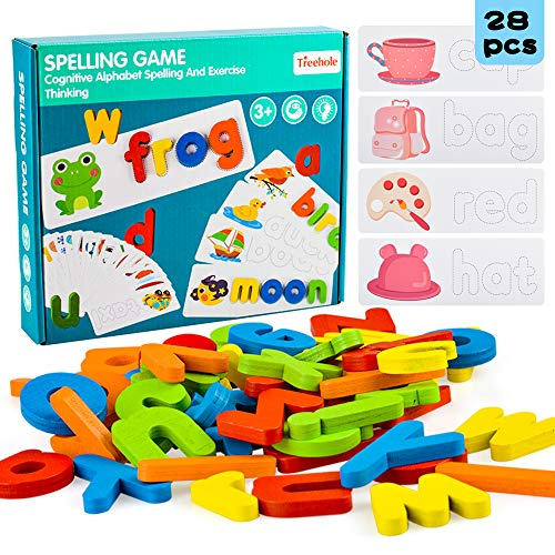 Preschool Learning Toys for 2 3 4 Year Old Toddlers, Educational Wooden Puzzle Toy for Kids Girl Boy Age 1-5 Birthday Gift Alphabet Spelling Game Kindergarten Sight Words Letter Block for Baby Toddler