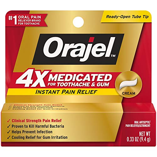Orajel 4X for Toothache & Gum Pain: Severe Cream Tube 0.33oz- From #1 Oral Pain Relief Brand