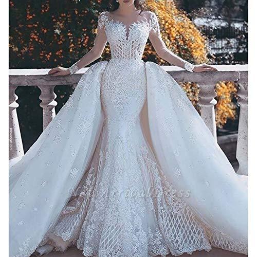 QIUXIANG Vestido de novia mujer Vestido de novia blanco magnífico del cordón con las desmontable tren ilusión de manga larga sirena vestidos de boda bata (Color : White, US Size : 14)