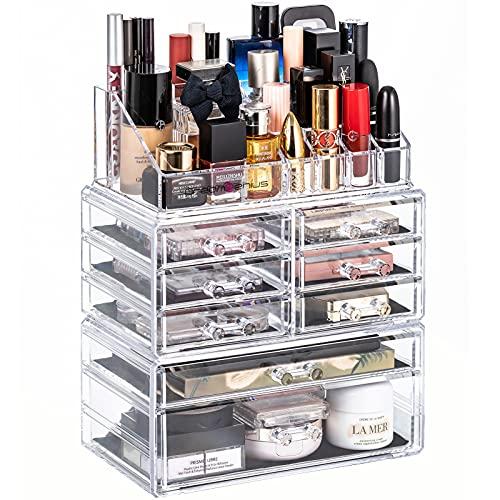 DreamGenius Organizador de maquillaje 3 piezas acrílico cosméticos cajones de almacenamiento y caja de exhibición de joyería transparente-A