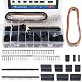 Glarks 635Pcs Connector Housing Male/Female Pin Connector 40 Pin 2.54mm Pitch Pin Headers and 10 Wire Rainbow Color Flat Ribbon IDC Wire Cable Compatible with Dupont Connector Assortment Kit